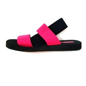 Esprit pink and black elastic straps sandals